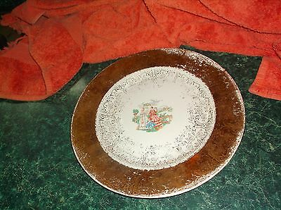 ANTIQUE homer laughlin plate 22k gold leaf beautiful country scene of 2 ladies