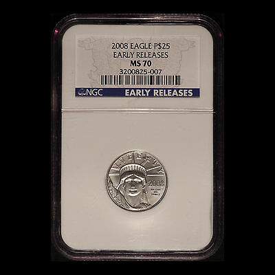 2008 ¼ Ounce Platinum $25 Eagle NGC MS70 Early Release - Free Shipping U.S.A.