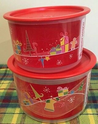NEW Tupperware Christmas Red Canisters set of 2 Christmas Containers