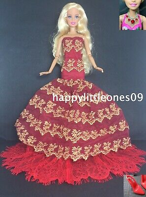 Barbie Doll Fishtail Mermaid Wedding Evening Dress/Clothes/Outfit with Shoes New