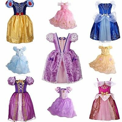 Cinderella Girl Dress Children Snow White Princess Rapunzel Halloween Costume‏*