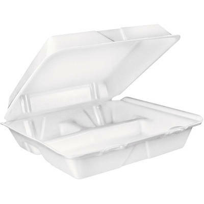 Dart Large 3-Compartment White Foam Carryout Food Container