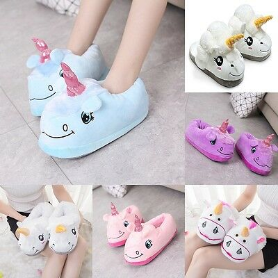 Women's Novelty 3D Cotton Character Plush Unicorn Slippers Winter Warm Shoes
