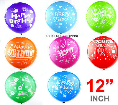 """12"""" Inch large Happy Birthday party birthday Printed Quality Balloons  baloons"""