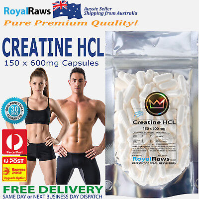 Creatine HCL 100 x 600mg capsules│Strength Power Fat Muscle Recovery Loss Unisex