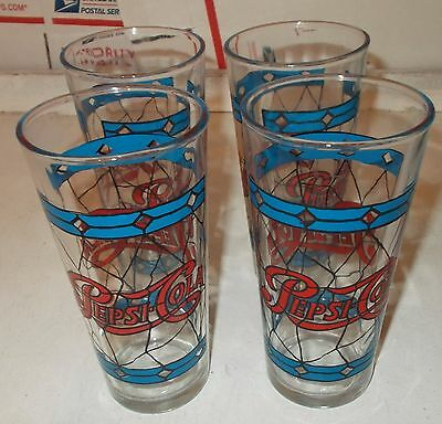 Lot of 4 Vintage Pepsi Cola Red & Blue Stained Glass Pattern Drinking Glasses
