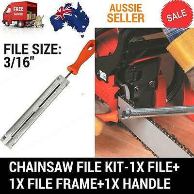 "Chainsaw Chain Sharpening Kit With 3/16"" (4.8Mm) Round File With Guide & Handle"
