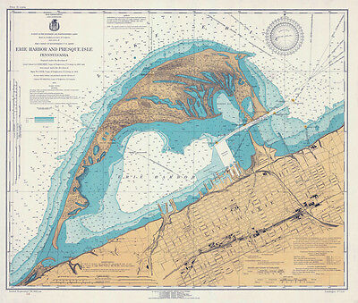 1920 Nautical Map of Erie Harbor and Presque Isle Lake Erie PA LARGE PRINT