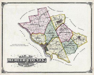1875 Map of Mercer County New Jersey