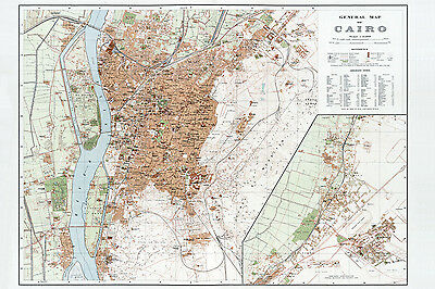 1920 Map of Cairo Egypt CANVAS PRINT