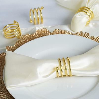 4 pcs Gold Spiral Design Aluminum NAPKIN RINGS Wedding Party Catering SALE
