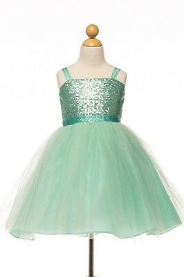 Sequin Top Dress With Tulle Skirt Mint Green Girls Size 6