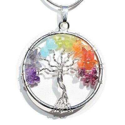 "7 Chakra Tree of Life Perfect Pendant™ BALANCING ENERGY REIKI 20"" Silver Chain"