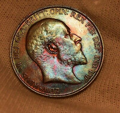 UK British penny Edward VII 1905 penny uncirculated unc stunning color