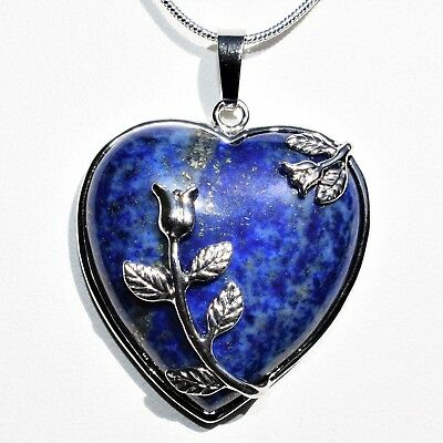 "Perfect Pendant™ - Lapis Lazuli Heart Pendant + 20"" SP Chain & Selenite Heart"
