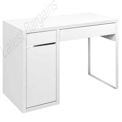 White Office Computer Desk Table Home Student Study Drawer Cabinet Storage