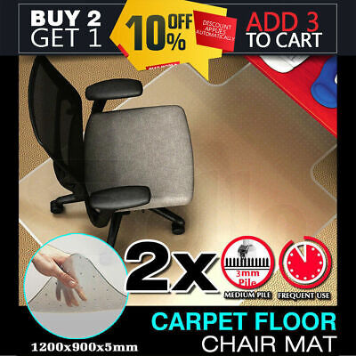 2 New Office Carpet Chair Mat Computer Floor Work  1200 x 900mm  Vinyl Protector