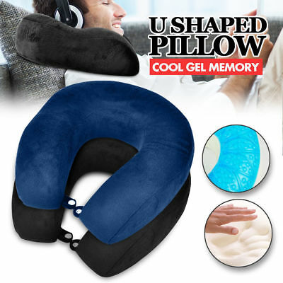 U Shaped Neck Pillow Flight Support Cushion BAMBOO MEMORY FOAM TRAVEL PILLOW