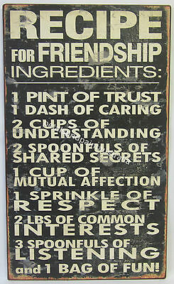 New Rustic Tin Wall Sign Recipe For Friendship Ingredients: Trust, Caring, Fun
