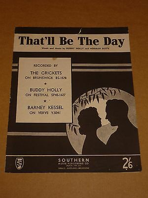 """Buddy Holly & Crickets """"That'll Be The Day"""" Australian sheet music"""