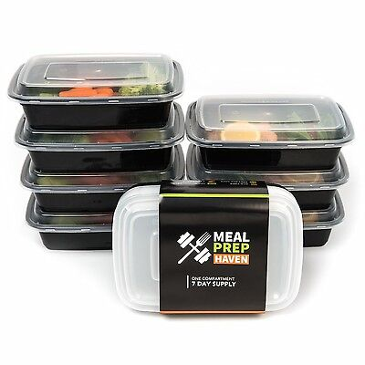 Meal Prep Haven Food Containers with Lids for Portion Control - Stackable 7 PACK