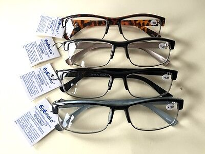 4Pairs Adult Unisex Mens Australian Standard Half Frame Reading Glasses +1.0~4.0