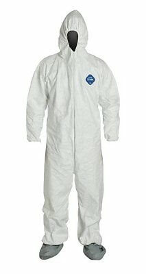 DuPont Tyvek TY122S Disposable Coverall with Hood and Boots, Elastic Cuff, Pack