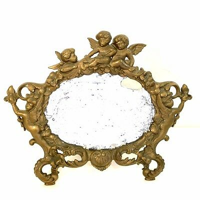 Stunning Antique Gold Cast Iron Cherub Vanity Mirror