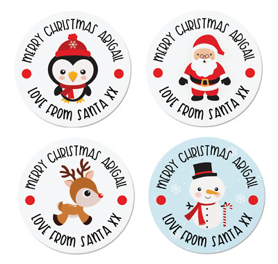 24 Personalised Christmas Labels / Stickers, 5 Designs, Santa, Rudolph, Snowman