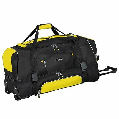 "Adventurer Duffel Collection- 36"" 2-Section Drop Bottom Rolling Duffel in Yellow"