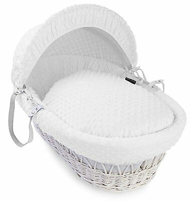 Luxury British Made White Moses Basket Replacement Covers/Dressing