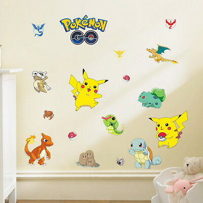 Elegant Pokemon Picachu Squirtle Bulbasaur Wall Stickers Removable Decals Kids Boy  Decor
