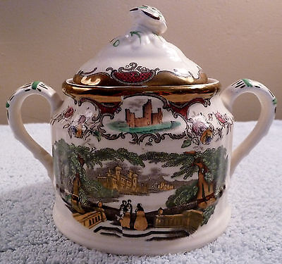 Antique Masons LEEDS copper luster polychrome ironstone lidded sugar bowl