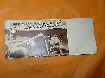 """1937 BUICK Promotional Sales Brochure 24 X 15"""" fold out """"It's Buick Again"""""""