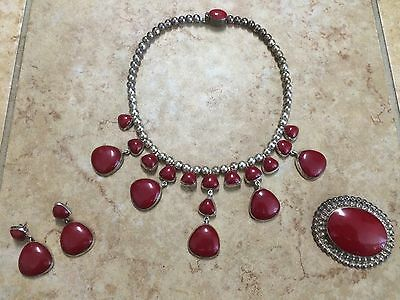 Sterling Silver Red Coral Necklace Earrings & Brooch