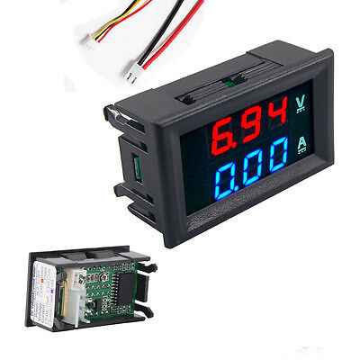 Preptec DC 0-100V 10A Digital Voltmeter Ammeter Dual Display Red Blue LED Gauge