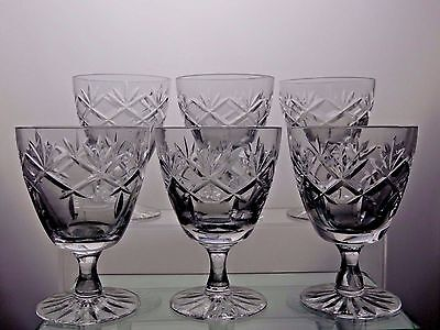 "Webb Corbett Crystal ""prince Charles"" Claret Wine Glasses Set Of 6 - 3 7/8"" Tall"