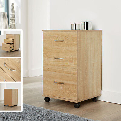 Oak Home Office Mobile 3 Drawers Pedestal Cabinet Silver Handles Unit