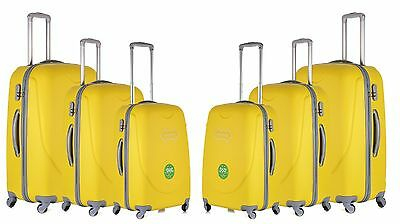 3 Piece ABS Hard Case 4 Wheeler Luggage Suitcase Trolley Travel Bag Case Yellow