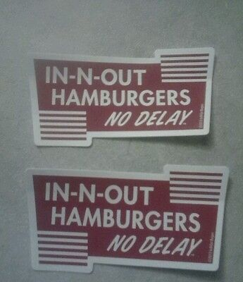 TWO IN N OUT BURGER STICKERS IN AND OUT HAMBURGERS NO DELAY, worldwide ship $3