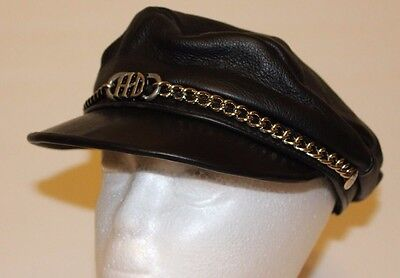 Harley Davidson Motorcycle Leather Captains Hat Med to Large Adjustable Vintage