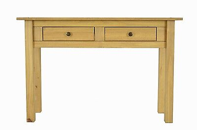 Pine Console Table 2 Drawer Hallway Reception Table Mexican Solid Wood