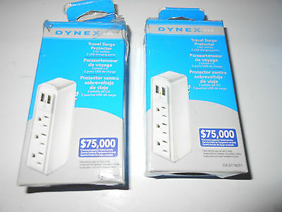 Lot of 2 x Dynex  3-Outlet  Travel Surge Protector with USB x2 DX-S114251