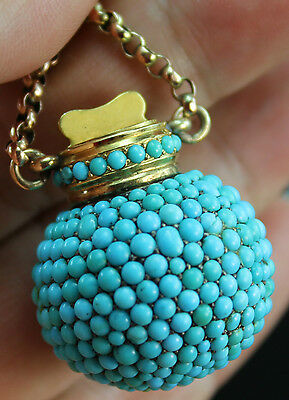 Victorian Rose Gold Mounted White Metal Turquoise Set Chatelaine Scent Bottle