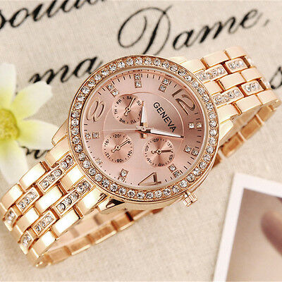 Fashion Women's Bracelet Stainless Steel Crystal Analog Quartz Dial Wrist Watch