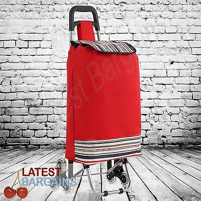 Shopping Cart Trolley Bag Stair Step Climbing Wheels Rolling Red NEW