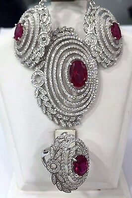 Perfect!turkish Handmade Ruby Sterling Silver 925K Earring,ring,pendant Set