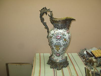 "Chinese Porcelain and Bronze Mount Vase Jug w/ Figurines 17"" x 8"" - 21"" w Handle"