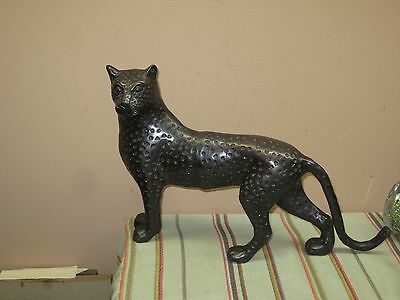 Beautiful Jaguar Puma Leopard Panther Wild Cat Figurine Bronzed Iron Metal 19""