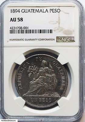 Guatemala 1894 Silver Peso. Km-210. Ngc Au-58. Lustrous And Nice Looking.
